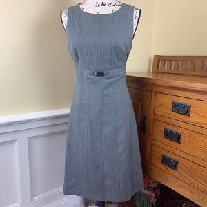 Tahari Gray Fully Lined Buckle Accent Dress